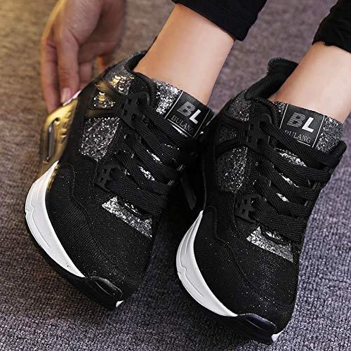 Zapatillas Negro Zapatos Comodos Logobeing Deportivos Zapatos Plataforma Mujer Zapatos Usar Casuales para Correr Tacon Estudiantes para para Mujer Zapatos Aumentar fPwHfx