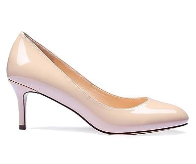 f6a5ac1fc8562 SUNETEDANCE Women's Slip-on Round Toe Pumps Office Business Kitten Heels  Comfort Classic Dress Work Stiletto 6CM Heel Shoes