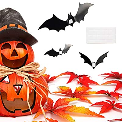 SUNEKING Halloween Party Supplies PVC 3D Decorative Scary Bats Wall Decal Wall Sticker, Halloween Eve Decor Home Window Decoration Set (1): Toys & Games