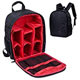 Beaspire Camera Backpack DSLR Hiking Camera Bag Waterproof for Canon, Nikon, Sony, Olympus, Samsung, Panasonic, Pentax Cameras (Red)