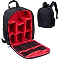 Camera Shockproof Backpack DSLR Hiking Camera Bag Waterproof for Canon, Nikon, Sony, Olympus, Samsung, Panasonic, Pentax Cameras and Other Accessories (Red)