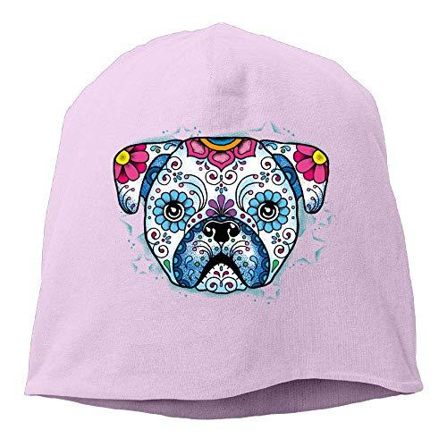 (Skull Beanie Hats Bulldog Sugar Skull Men's Warm Winter Watch Cap Casual PinkOne)