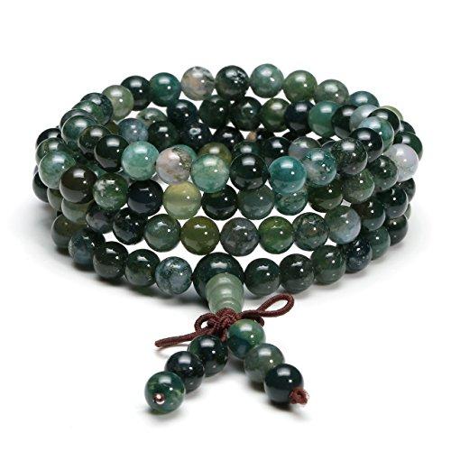 Jovivi 6mm Natural Moss Agate Stone Healing Gemstone 108 Mala Prayer Beads Stretch Bracelet Necklace (Tibetan Prayer Beads Buddhist)