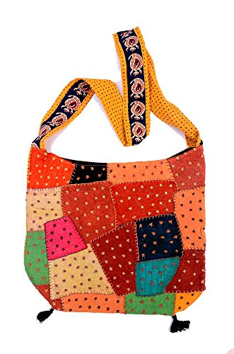 India Patchwork Art (Hand Art India, Handcrafted Single Side Patch Work Woman's College Bag)