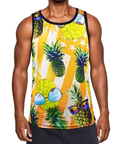 Yellow Mesh Tank Top - Kayolece Men's Women's Summer Tank Tops 3D Unisex Printed Casual Sleeveless Beach Vacation Tee Shirts L, Yellow