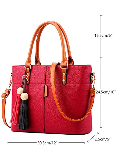 Women's 5cm PU Bag Wine 30 Bags Hand Bags Bag Red body Cross Handle Shoulder qrwqCP