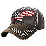 American Flag Eagle Dark Grey Washed Cotton Vintage Ball Cap.