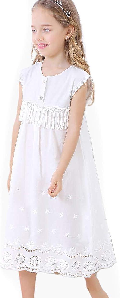 2019 Girls Nightdress Lace Princess Nighties Nightgown Sleepwear White Nightdress Casual Lounge