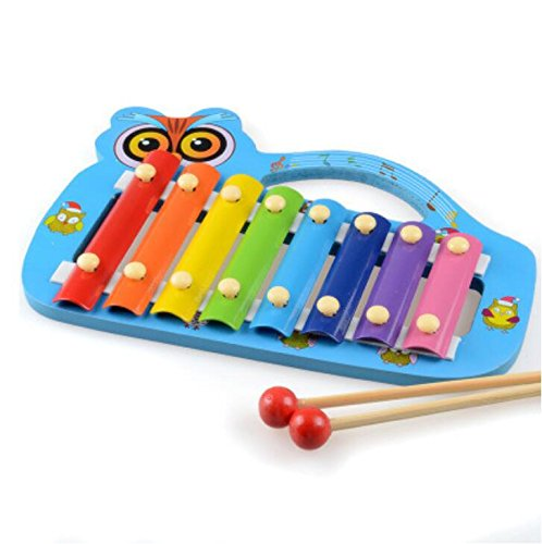 Polymer Musical Toys Owl Shape Wooden Xylophone Piano Wooden Hand Knock Xylophone for Baby Learning Music(Blue) by Polymer