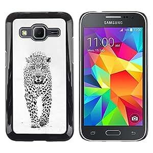 Caucho caso de Shell duro de la cubierta de accesorios de protección BY RAYDREAMMM - Samsung Galaxy Core Prime SM-G360 - Winter Black White Spots