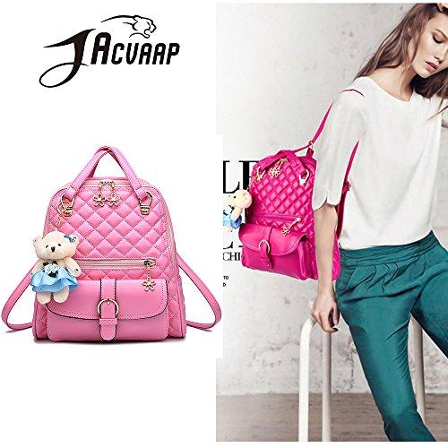 (JVP1031-P) bolso de las señoras mochila de cuero de LA PU rosa de gran capacidad bolsa de viaje de vuelta señoras 3 way bolso de hombro de la manera de moda suburbano ligero escuela Rosa