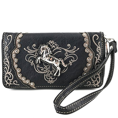 Studded Coin (Justin West Horse Embroidery Studded Concealed Carry Handbag Purse Matching Wallet (Black flat wallet))