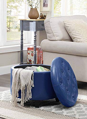 (Convenience Concepts 163060BE Designs4Comfort Round Ottoman, Blue Faux Leather)