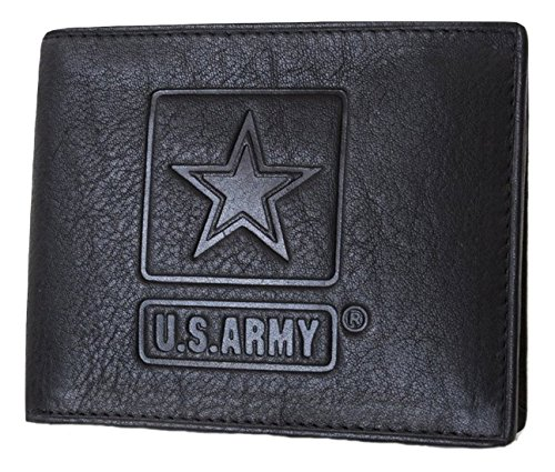 US Armed Forces Collection Men's Genuine Leather Wallets - Gift Boxed Bi-Fold and Tri-Fold Leather Wallets (US Army Bi-Fold, Black) ()