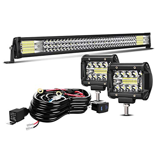 """TURBO SII 32"""" LED Light Bar Triple Row 441W Flood Spot Combo Beam Led Bar W/ 2Pcs 4in Off Road Driving Fog Lights with Wiring Harness-3 Leads for Jeep Trucks Polaris ATV Boats Lighting"""