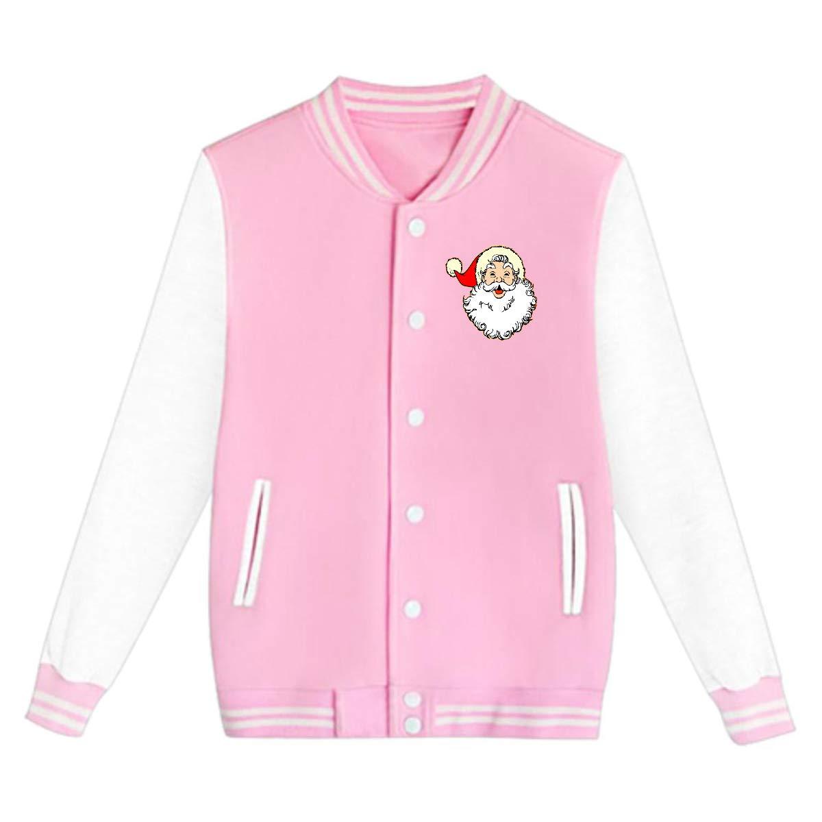Tina TN Santa Claus Teens Boys Girl Varsity Baseball Jacket Long Sleeve Sport Baseball Uniform Jacket Coat Sweater Black