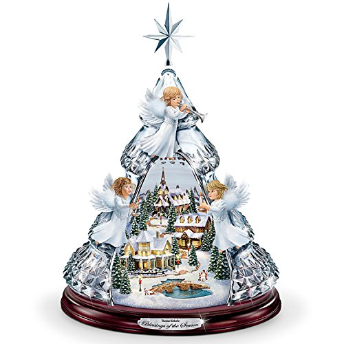 Thomas Kinkade Blessings Of The Season Crystal Angel Tabletop Tree Plays Silent Night by The Bradford Exchange