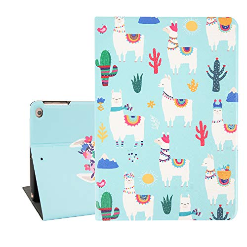 Cute iPad Case 9.7, White Llama iPad Air Case for Girls and Women, Cactus Tablet Case for iPad 9.7 Inch with Auto Sleep/Wake Function, Protective Smart Case Cover for iPad - Cases Ipad For Girls