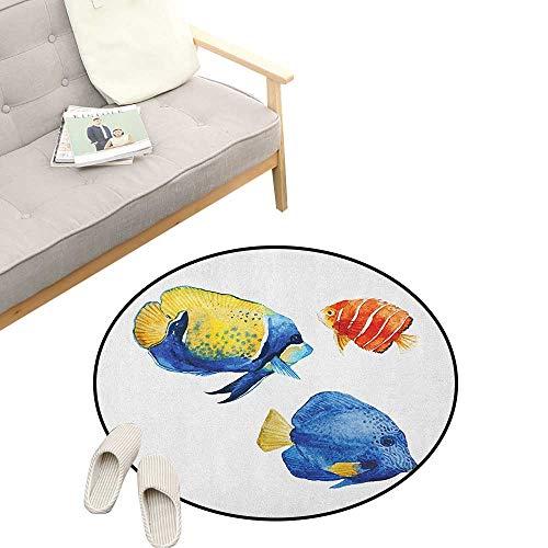 Fish Round Rugs for Bedroom ,Tropical Aquarium Life Discus Fish and Goldfish in Different Patterns, Skid Resistant Rug Pet Pad 31