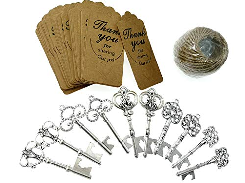 Kinteshun Skeleton Key Bottle Opener with Escort Tag and Jute Rope for Wedding Party Favor(50sets,Silver Tone) -