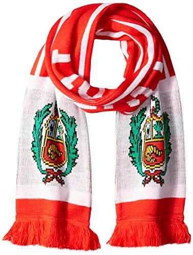 RUFFNECK International Soccer, Bufandas de Bandera por país, Talla única, Varios Equipos, Bufanda de Perú, Rojo, Rojo, 6'...