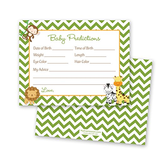 48 Green Chevron Safari Animals Baby Prediction Cards