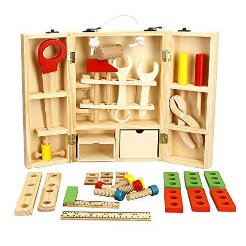 (Wooden Tool Toys Pretend Play Toolbox Accessories Set Educational Construction Toys for Kids,Miya Fix It Repair Tool Kit Toys Colorful Wooden Tools Construction Toy Repair Kits Puzzle for Children)