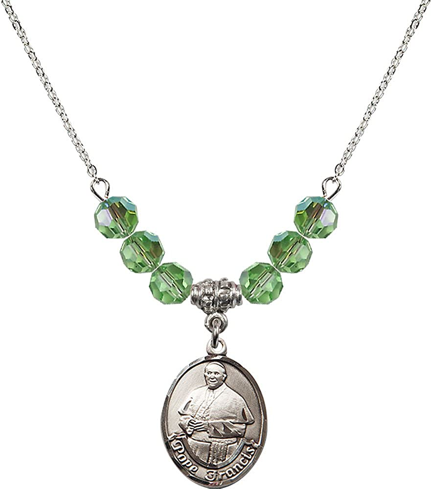 18-Inch Rhodium Plated Necklace with 6mm Peridot Birthstone Beads and Sterling Silver Pope Francis Charm.