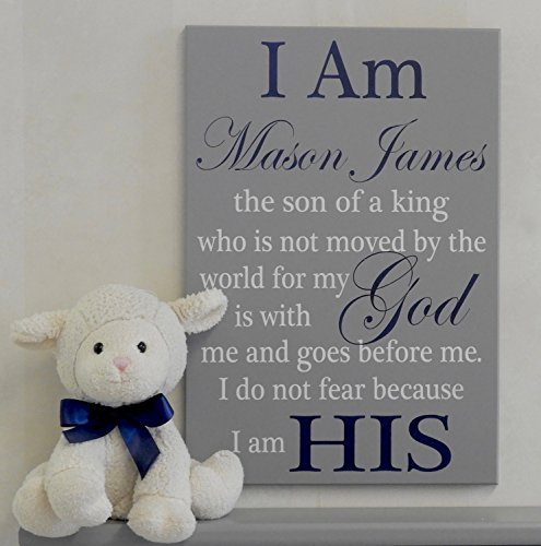 I Am His Christian Wall Art, Son of a King Baby Nursery, Boy's Room Decor, Personalized Decor, Custom Baby Shower Gift Navy Blue and Gray