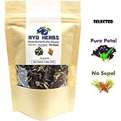 Pure Petal Blue Herbal Tea - Dried Butterfly Pea Flower 12 grams , Selected Pure Petal (No sepal) suitable for Tea and Food coloring and Hair treatments, Herb from Thailand