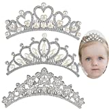 ANBALA Baby Girls Rhinestone Crown Hair Comb, 3 Pack Sweet Crystal Tiara Crown Headbands Toddler Princess Hair Accessories for Flower Girls Baby Kids Bridesmaid