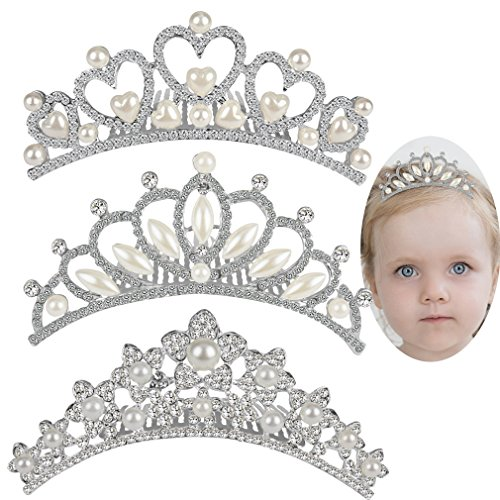 ANBALA Baby Girls Rhinestone Crown Hair Comb, 3 Pack Sweet Crystal Tiara Crown Headbands Toddler Princess Hair Accessories for Flower Girls Baby Kids Bridesmaid -