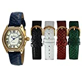 Peugeot Women's 14k Gold Plated Tank Crystal Bezel Five Easy Release Interchangeable Leather Bands Watch Gift Set 679G