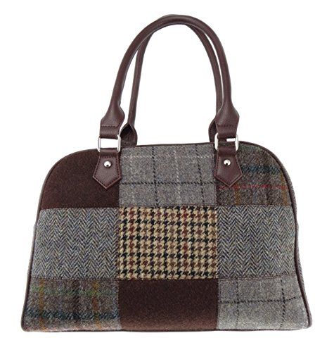 Mujer Harris Tweed Patchwork bolso disponible en 2 colores lb1022 Multicolor - Brown COL7