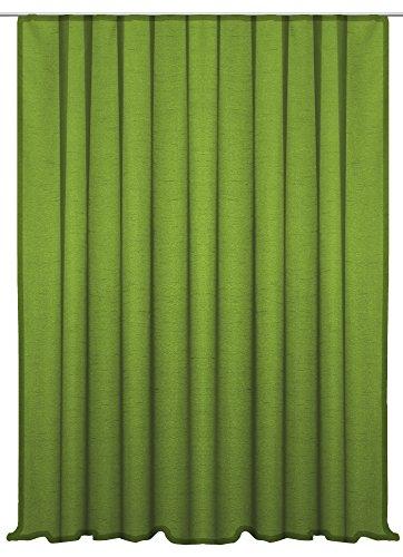 Dekoschal Seidenglanz doppelte breite halbtransparent Vorhang Übergardine Kräuselband Gardine ca.300x245 cm #1319 (dunkel grün)