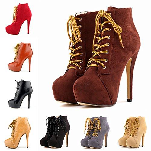 Mavirs Womens Cyjk Tacco Alto Pompe A Punta Tacco Stivaletti Lace Up Party Dress Shoes Albicocca Pu
