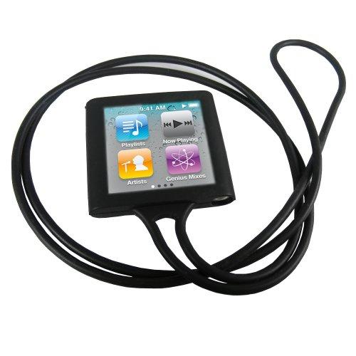 igadgitz Silikon Schutzhülle Hülle Tasche Etui Case Skin in Schwarz und mit Halsband für iPod Nano 6G 6. Gen Generation 8gb & 16gb + Display Schutzfolie