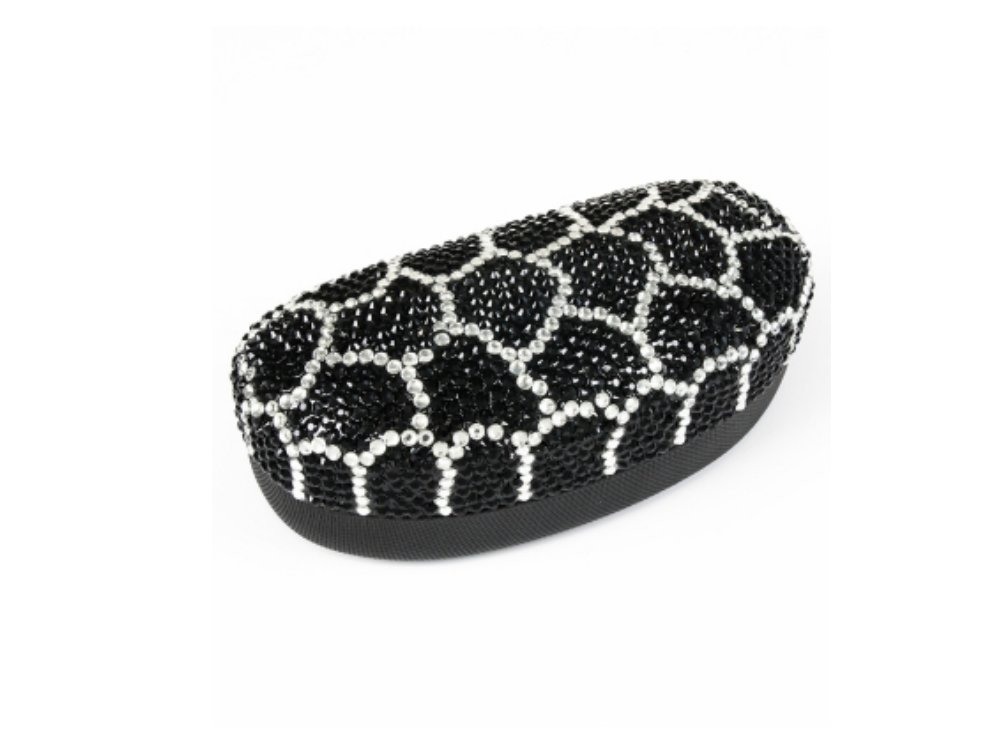 Extra Large Black Web Design Crystal Stone Sunglass Case