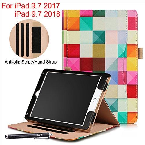 New iPad 9.7 2018/2017 Case, Newshine PU Leather Full Body Flip Stand Cover Auto Sleep/Wake with Pencil Holder & Hand Strap for iPad 9.7 (iPad 5th/6th Gen)/ iPad Air/iPad Air 2, QC-Color Grid