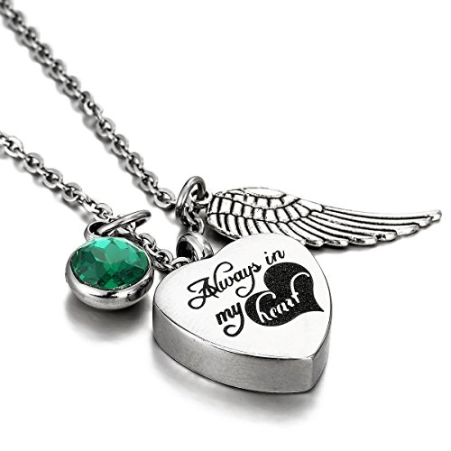 Rhinestone Heart Wing - HooAMI Always In My Heart Angel Wing Emerald Birthstone Cremation Jewelry Memorial Urn Necklace