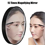 Ownsig Portable Magnifying Makeup Mirror Vanity Mirror Mini Size With Suction Cups 1Pc (15X)