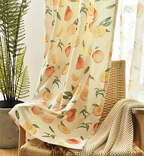 pureaqu Thermal Insulated Printed Semi Blackout Curtain for Kids Nursery Room Peach Fruits Patterns Curtain Drapes Grommet Top Window Treatment Drapery for Bedroom 1 Panel W52 H63 Inch