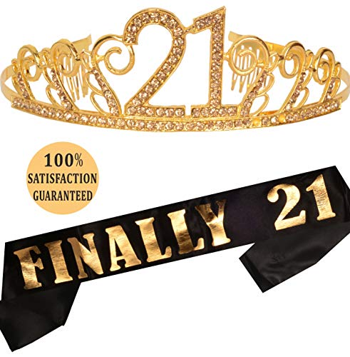 MEANT2TOBE 21st Birthday Tiara and Sash| Happy 21st Birthday Party Supplies| Finally 21 Glitter Satin Sash and Crystal Tiara Birthday Crown | 21st Birthday Party Decoration Kit (Gold) (Gold) -