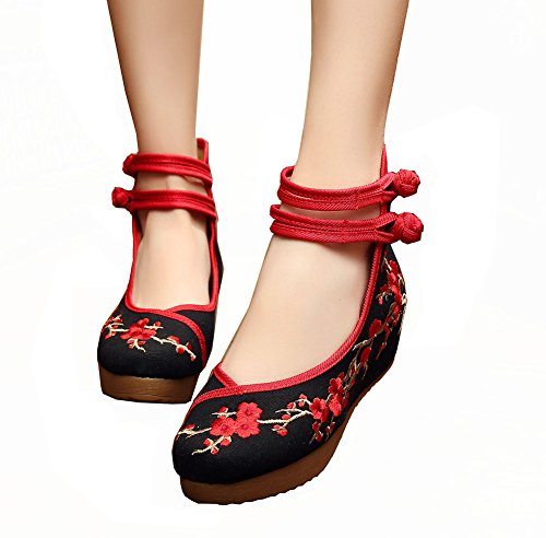 Women Chinese Embroidered Plum Flower Wedge Shoes Platform Shoes for Walking Dance Prom Black 36 ()