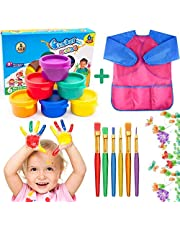 AYUQI Washable Kid's Finger Paints with 6 Brushes and Waterproof Art Smock,Non-Toxic & Child Friendly,Children Finger Painting Drawing Toys Painting Tool Birthday Gifts, for Kindergarten School Home