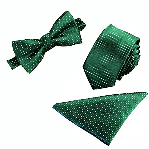 Mens Polyester Skinny 2.4 Neck Tie Pre-tied Bow Tie Pocket Square/Handkerchief Hankie 3pcs Set