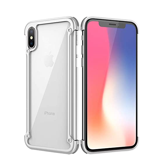 classic fit 6bf68 648bd OATSBASF Bumper Case for iPhone Xs Max, Edge Bumper Utral Thin Aluminum  Metal Cases, Shock Absorption Edge Case Support Wireless Charging