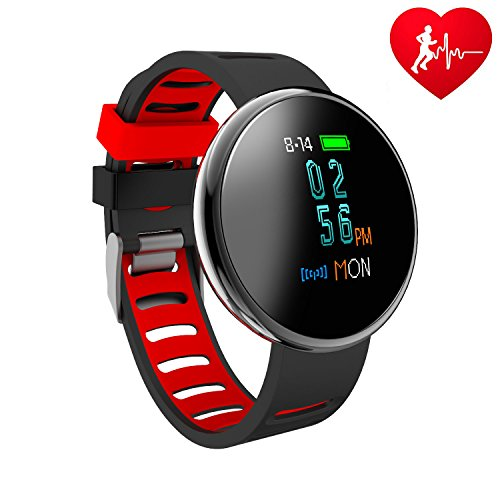 ure Fitness Tracker I10X Colourful Screen Smart Watch with SPO2H Heart rate monitor Sleeping Management Pedometer with OLED Touch Screen for Android iOS ()
