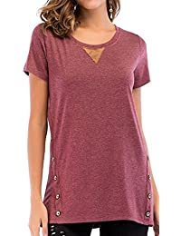 Women's Short Sleeve Loose Tunic Blouse Shirt Tops with Buttons S-2XL