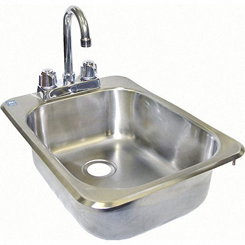 ACE Stainless Steel Drop in Hand Sink with No Lead Faucet and Strainer, 13 by 17-1/2-Inch by ACE